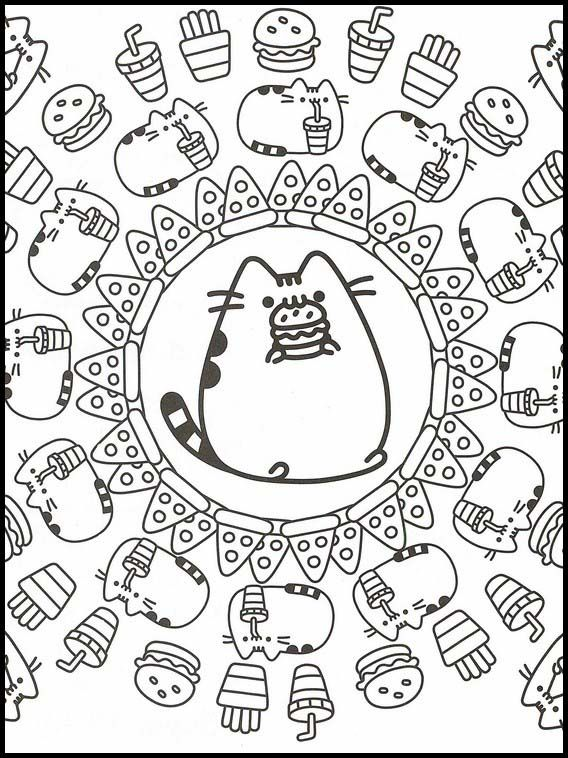 Pusheen 78 Printable Coloring Pages For Kids Cute Coloring Pages Pusheen Coloring Pages Cat Coloring Page