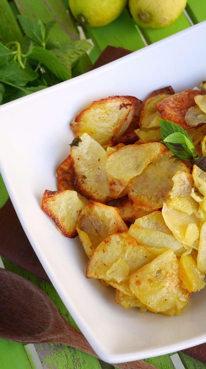 Patate al forno con limone e menta