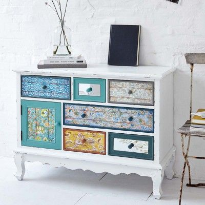 sch ne kommode sideboard bunt landhaus shabby. Black Bedroom Furniture Sets. Home Design Ideas