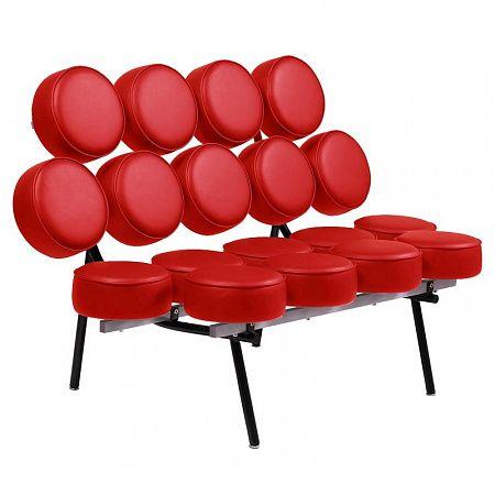 Диван Marshmallow Sofa Красный Экокожа