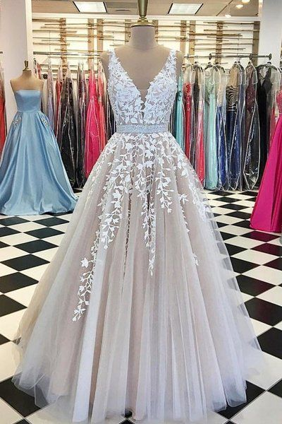 Light champagne V neck prom dress, A line long prom dress, lace appliques prom dress