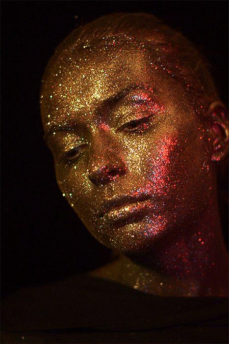 """The sun""  Photo and Concept : Nicoleta Spiridon   Make-up: Andra Diac   Model: Alexandra Balutescu  Glitter, shining, gold"