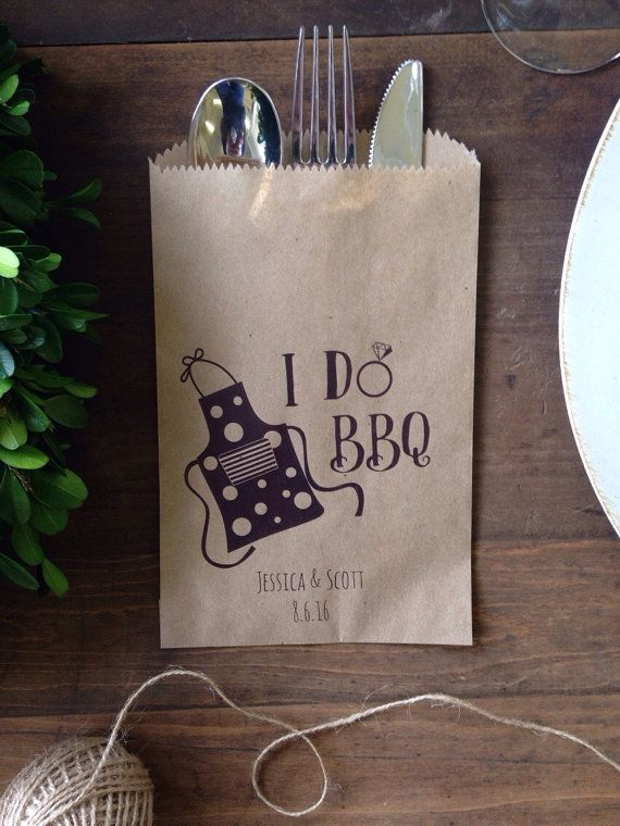 I DO BBQ Couples Shower Favor, Silverware Holder Bag,  Wedding Barbecue or Rustic Outdoor Party Shower Decorations Buffet