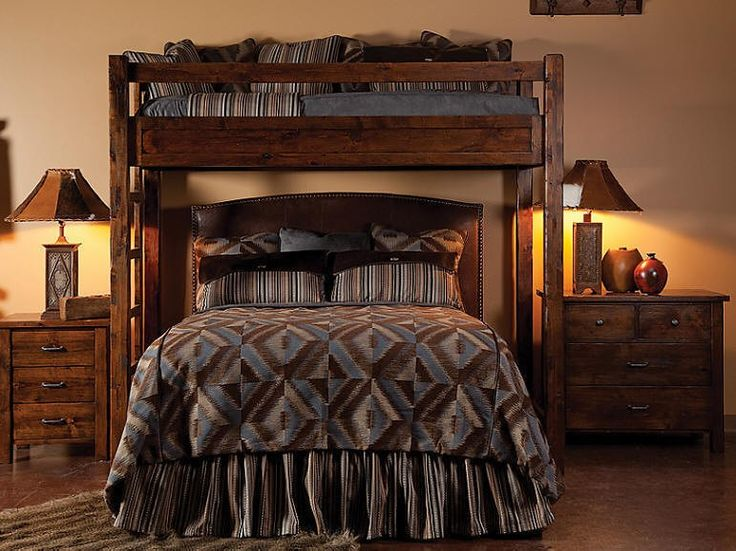 Bear Creek Knotty Alder Loft Bunk Bed For Existing Queen