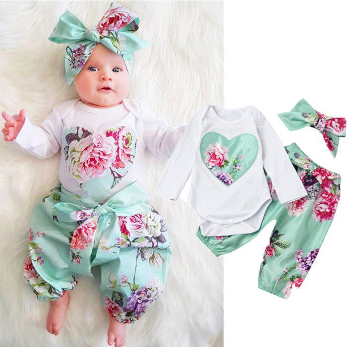New Summer Newborn Kids Baby Girl Floral Romper Jumpsuit Playsuit Clothes Outfit