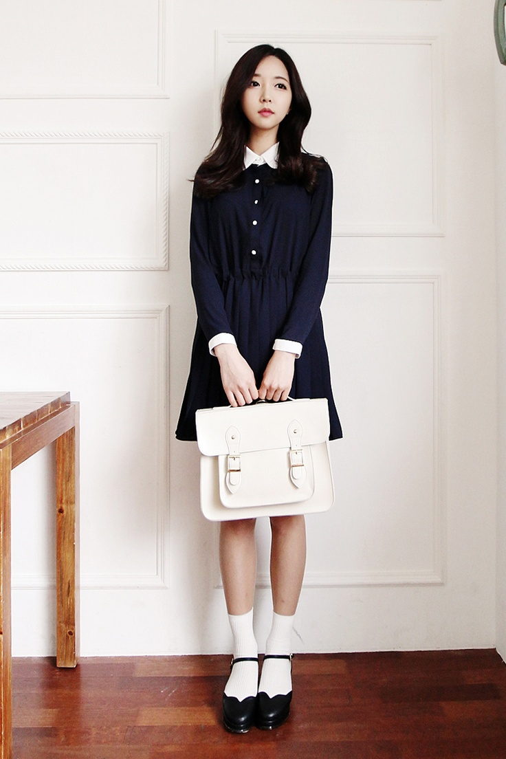 Korean fashion long sleeve navy blue dress white cambridge satchel black heels and white Korean fashion style shoes