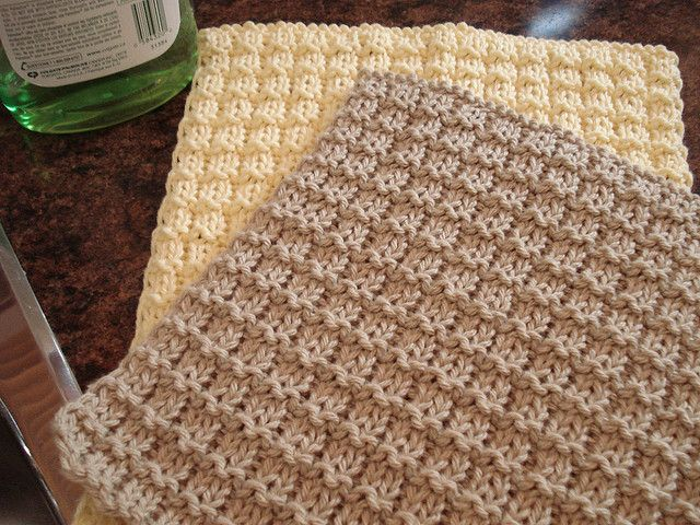 Knit Waffle Stitch Dishcloth : Boxy Dishcloth by Leah Michelle Designs with a technique for no borders Cro...