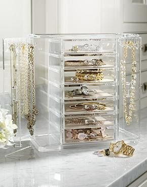 Made of heavyweight acrylic, the Vivienne Jewelry Chest with Necklace Keeper provides ample room for your favorite jewelry- perfect for keeping your baubles organized!: Decor Ideas, Beds, Jewelry Chest, Bathroom Accessories, Diy Jewelry, Necklaces Keeper, Ampl Rooms, Chest And Vanities, Vivienne Jewelry