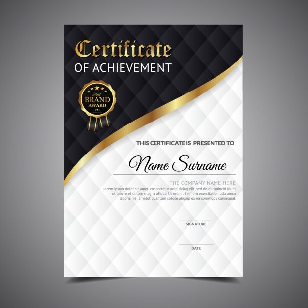Black and white certificate of achievement Free Vector