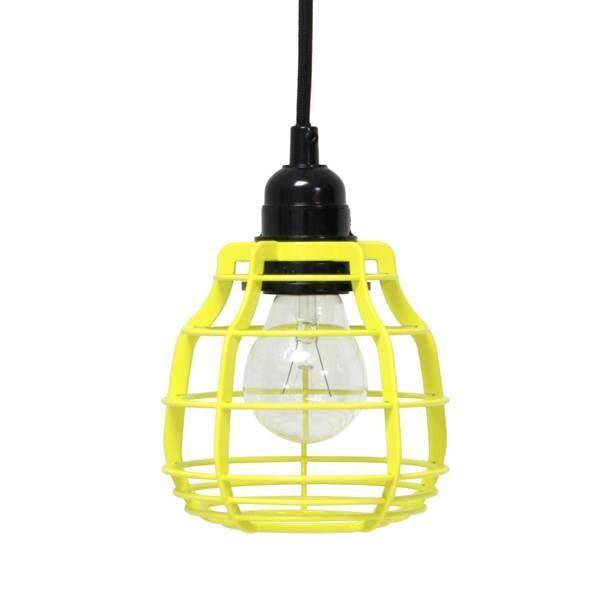 HK-living Hanglamp LAB met stekker geel Ø13x17cm, LAB helder geel - lefliving.be