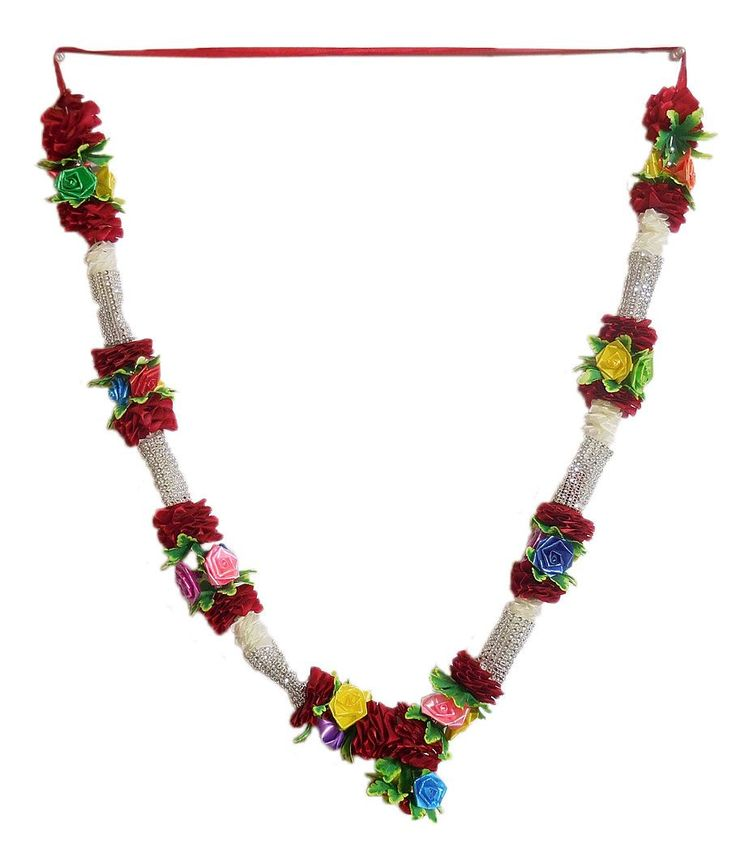 Multicolor Roses with Maroon Cloth Garland (Cloth)