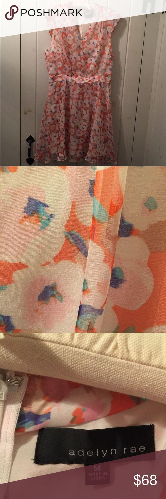 Adelyne Rae fit & flare dress Adelyn Rae fit & flare dress NWT  super cute peach colored flower print lightweight fabric great for summer fun Adelyn Rae Dresses Midi