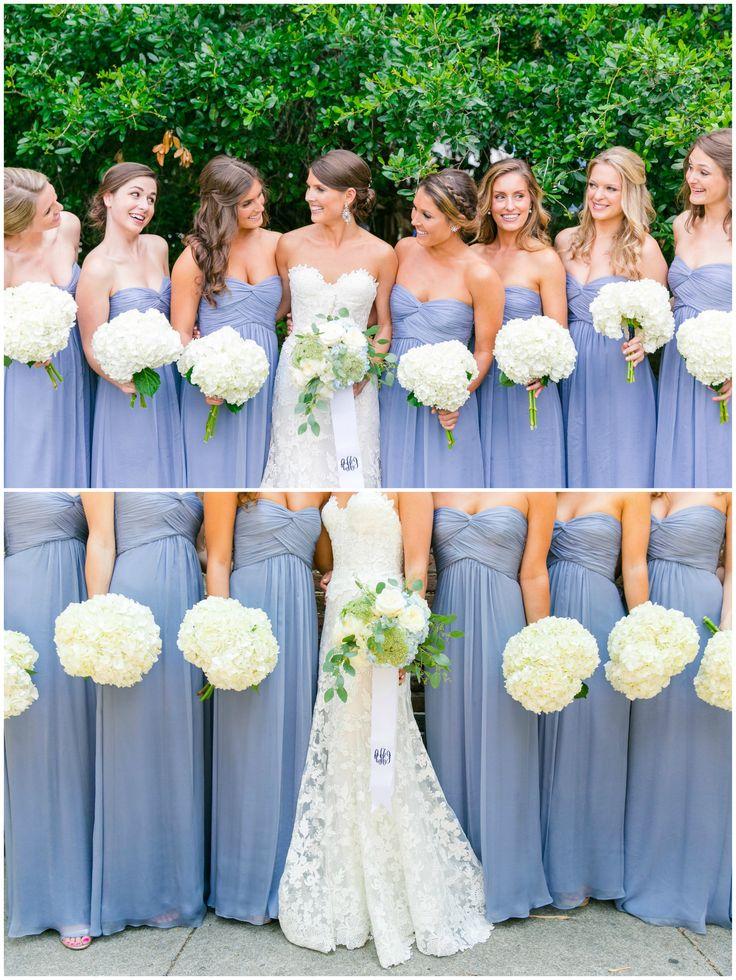 Identical strapless bridesmaid dresses, cornflower blue bridal party, all white bouquets // Dana Cubbage Weddings