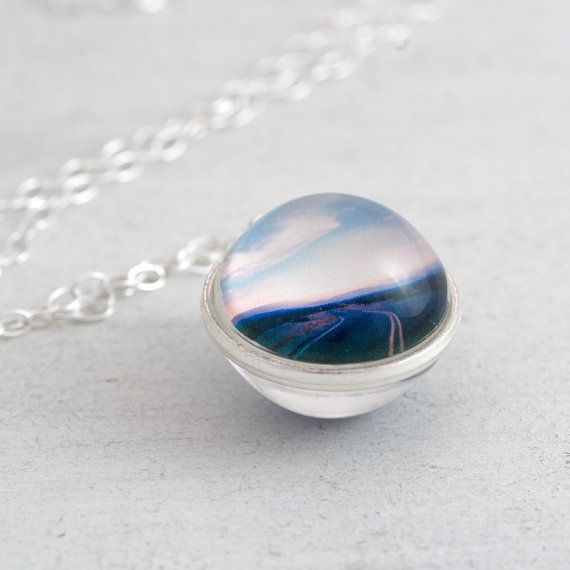 Wanderlust necklace - miniaturised photography print of an open road set inside a long glass sphere necklace