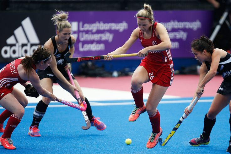 Lily Owsley of Great Britain jumps out of the way of the ball during the FIH Women's Hockey Champions Trophy 2016 match between New Zealand and Great Britain at Queen Elizabeth Olympic Park on June 26, 2016 in London, England.