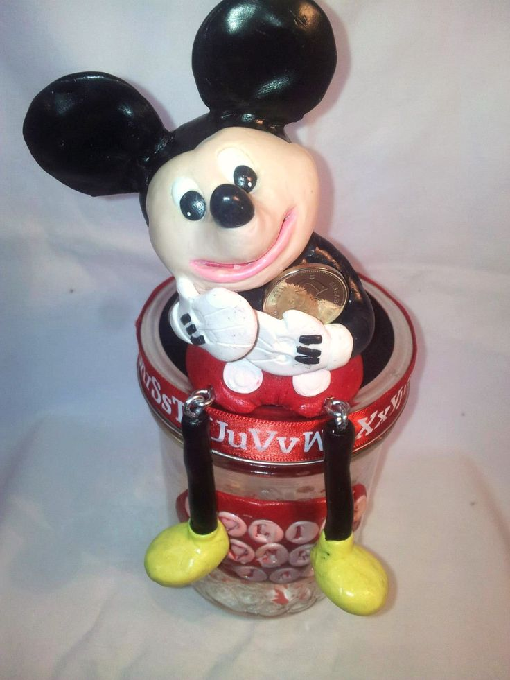 hand sculpted polymer clay mickey mouse money jar, home decor, home & living, money box, candy jar, handmade mickey mouse, clay mouse, mouse by BloominClay on Etsy