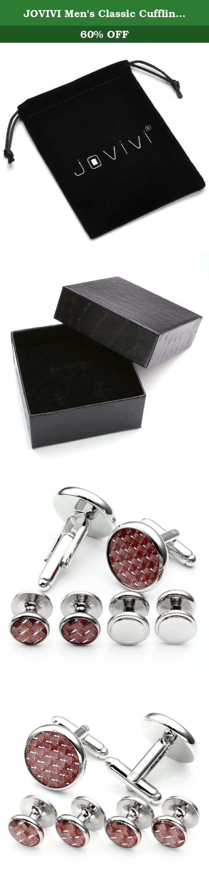 JOVIVI Men's Classic Cufflinks and Studs Set for Tuxedo Shirts Wedding, Stainless Steel Carbon Fiber Silver Black Color w/Box. *Thank you for visiting JOVIVI Store. We are specializing in jewelry making beads and findings. *If you like this product, we advise you add it to wish list now, so that we will inform you immediately once it has a discount. *And you can click our brand name which on the top of the title; you can find more jewelry making beads with high quality and reasonable…