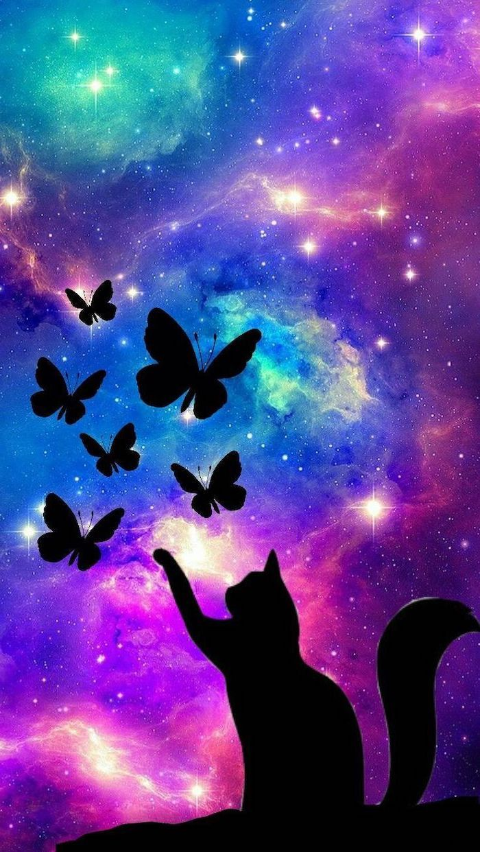 Cat Silhouette Playing With Butterflies Samsung Galaxy Wallpaper Colorful Galaxy In The Background Filled Cool Galaxy Wallpapers Galaxy Wallpaper Galaxy Images