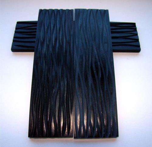 Bueffelhorn-Platten-schwarz-Motiv-5-ca-12x3-8x0-8cm-Messergriffschalen-T50A