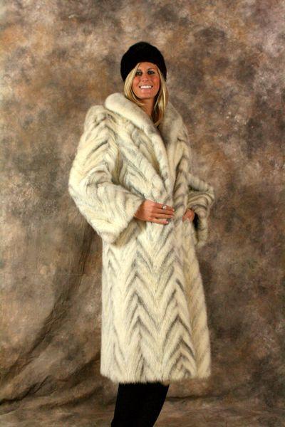 Mink Tails Black Cross Chevron Design Long Fur Coat Fur