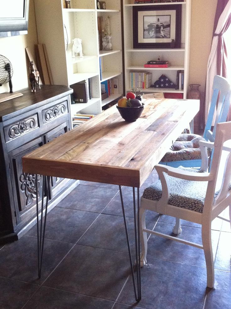 Reclaimed Barnwood Dining Table, Desk. Modern Vintage Hairpin Steel Legs.  Pattern Patch Work