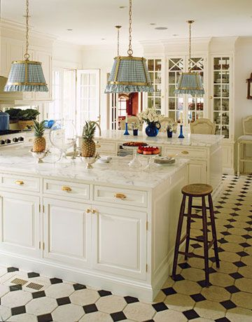 two islands!Dreams Kitchens, Lights Fixtures, Floors, Kitchens Pictures, Light Fixtures, Black And White, Design Kitchens, Kitchen Designs, White Kitchens