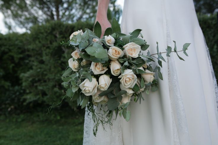 Countrystyle bouquet of ivory/pale pink roses and mixed herbs (lavender, rosemary)