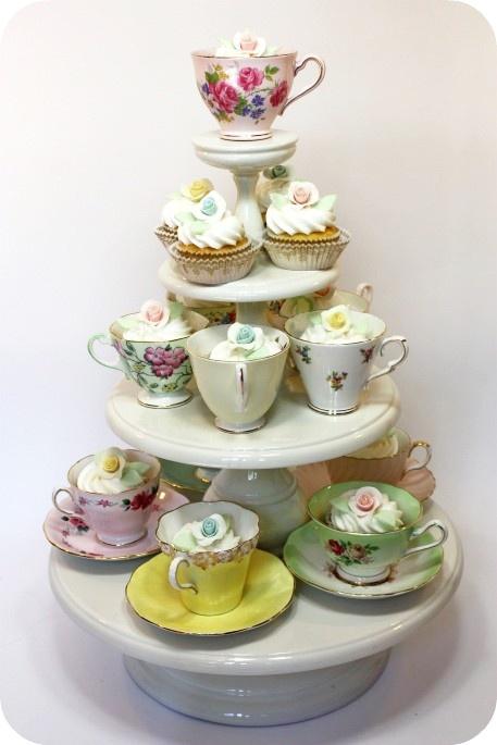 cupcakes...what a cute idea! I love tea cups! & 97 best Sweet Sixteen Tea Ideas images on Pinterest | Birthdays ...