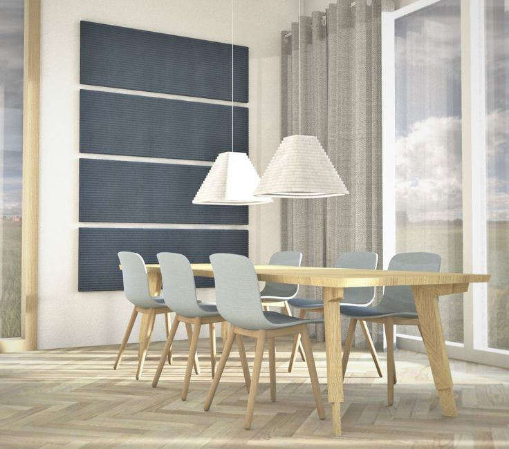 Sometime simple is the way to go, RIMPI acoustic lights and blueberry wall panels.