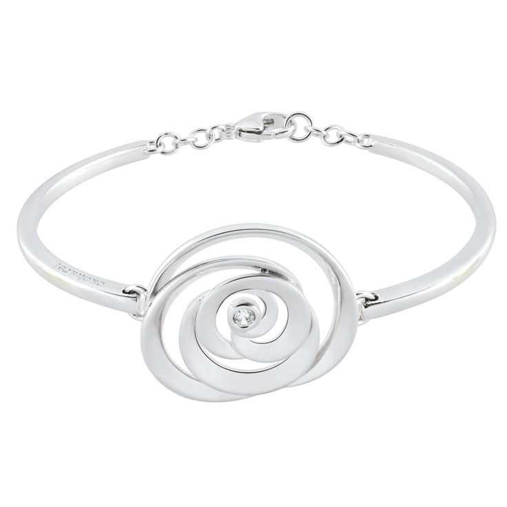 Cacharel 925 Sterling Silver Rose Bangle with white zirconia