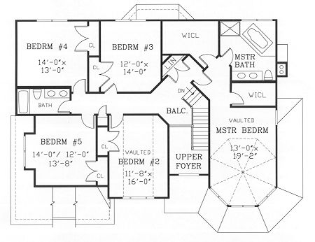 BHG-3826 2nd floor - 5 bedrooms. I'd maybe like another bathroom, so there could be 2 bedrooms per bath. This plan also includes an unfinished basement, perfect for extra storage, a music studio, and a rec room.