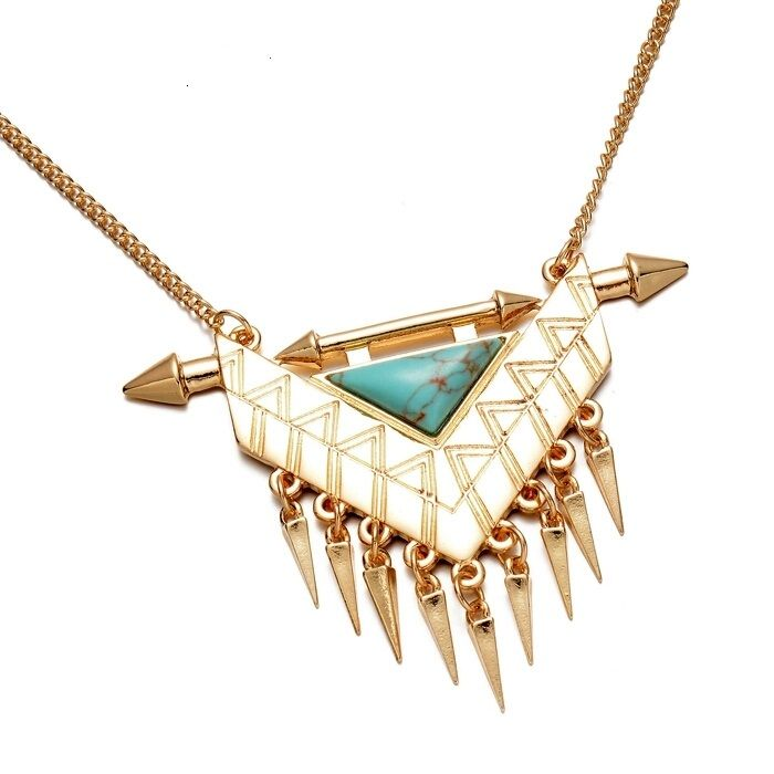 Collier ethnique triangle turquoise (2)