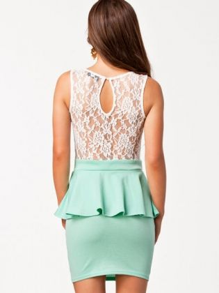 Pretty lace peplum dress in white and mint! Available in South Africa from Lush www.lushwear.co.za #lushwear #peplum #dress #lace #mint #dresses #fashion #fashion2015