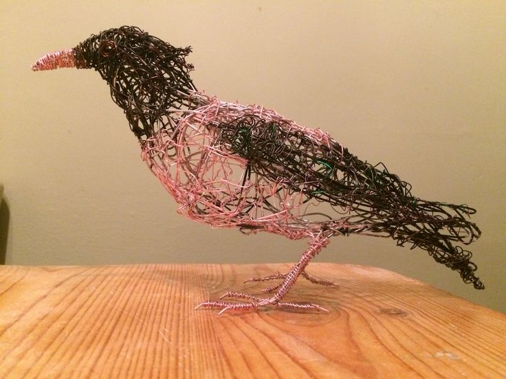 Wire Bird Sculpture Rose coloured Starling
