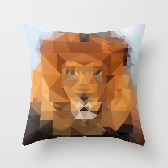 Poly The Lyon Throw Pillow by Liqrush - $20.00