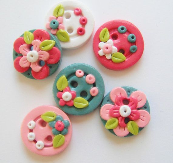 Button Tranquil Flowers handmade polymer clay by digitsdesigns, $8.50