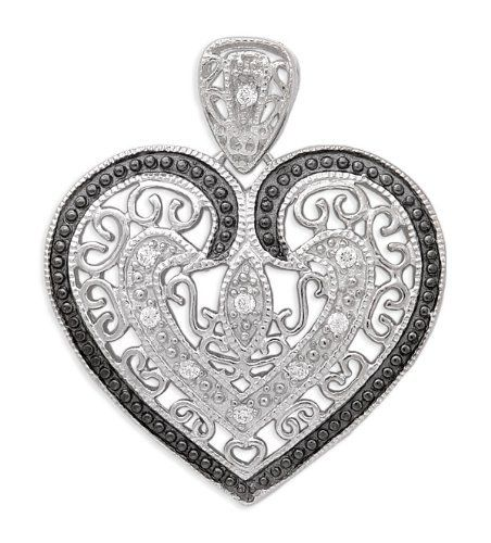 925 Sterling Silver Pendant Vintage Filigree Design Black Outline Cubic Zirconia w/ Heart Shaped - Incl. ClassicDiamondHouse Free Gift Box & Cleaning Cloth ClassicDiamondHouse. $65.80. Jewelry that make a statement day or night. Fabulous CZ Diamonds.. Always look presentable and stunning! Get countless appreciation in our CZ Diamond jewelries. Enjoy Shopping!. These gorgeous items has attractive jewelry box . Refer image. Wow!Packed in a Beautiful Engraved box And Fr...