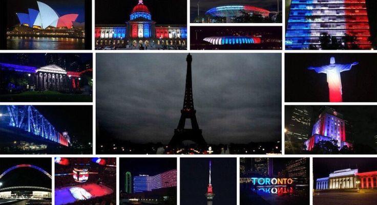 De Londres à Rio en passant par Sydney, de nombreux monuments se sont habillés des couleurs du drapeau français en hommage aux victimes des attentats perpétrés vendredi soir.