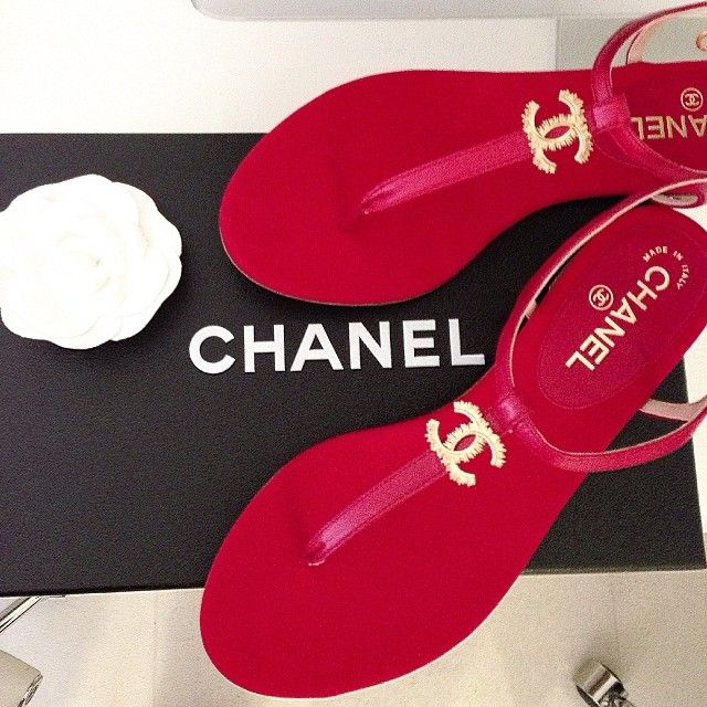Chanel Sandals #red #love #FOLLOWINGAPRIL                                                                                                                                                                                 More