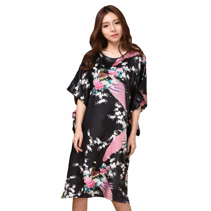 Sexy Black Female Silk Rayon Robe Bath Gown Nightgown Summer Casual Home Dress Printed Peacock Sleepwear Plus Size 6XL S002-F