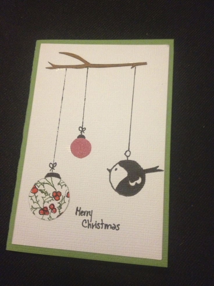 """Hand crafted """"ornaments"""" and a cardstock tree branch give this Christmas card an special """"touch."""""""