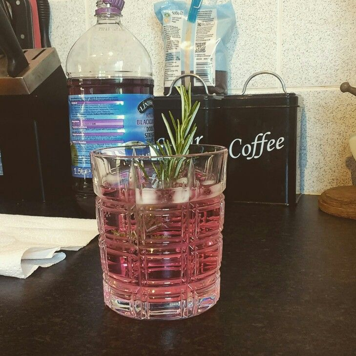 Really simple, inexpensive gin cocktail.   Double shot gin Double shot apple and blackcurrant cordial  Top up with lemonade   Garnish with a rosemary twig!  That's it!  #cocktail #gin #drink #summer #cheap #students #yum