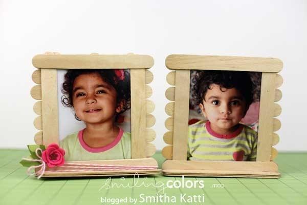 Popsicle stick photo frames - Smitha Katti