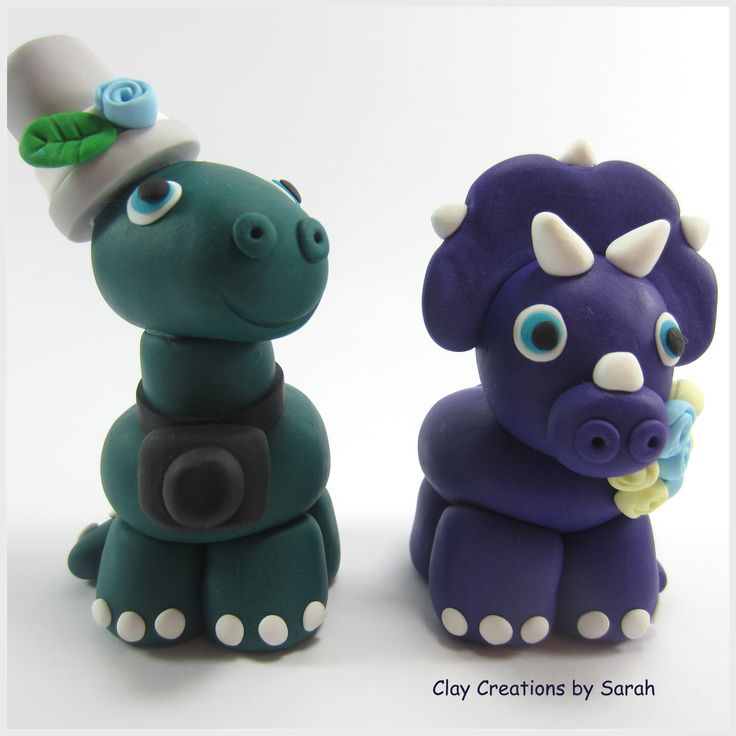 Dino Dinosaur Wedding Cake Topper ! Why not Visit our shop front on Etsy?                         https://www.etsy.com/ie/shop/ClayCreationsBySarah?ref=hdr_shop_menu                                             Or give us a like on Facebook!                             https://www.facebook.com/Clay-Creations-by-Sarah-1466507960255366/