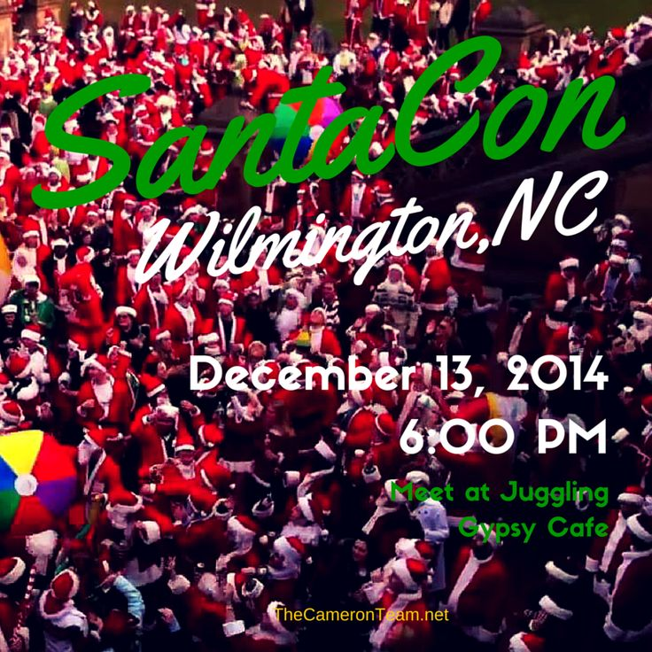 """SantaCon is THIS SATURDAY! Not one, but at least TWO (possibly, THREE) are planned for Downtown Wilmington.If you take part, please remember that SantaCon started as a holiday fundraiser, so try to keep that spirit alive and be safe! Wilmington has Uber and plenty of traditional cab services. The SantaCon originating at The Juggling Gypsy is also arranging for """"Sleighs"""".  More info: https://www.santacon.info/Wilmington-NC/  #wilmingtonnc #santacon"""