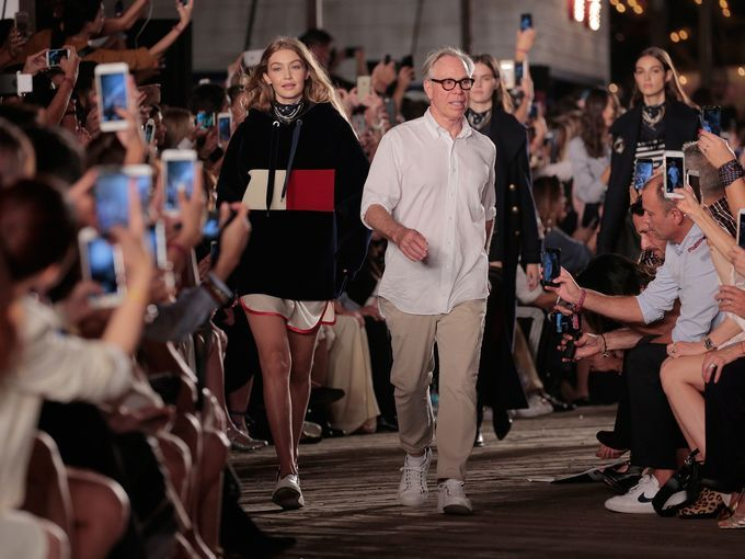 Gigi Hadid and Tommy Hilfiger walk the runway showing off their Tommy X Gigi collection.