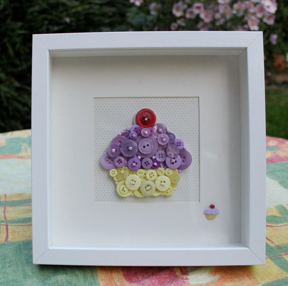 Button art cupcake framed picture, original and unique, purple and yellow buttons, suitable for the nursery or a girl's bedroom