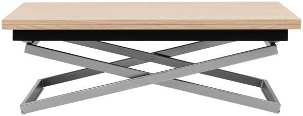 Rubi adjustable table, converts from a coffee table into a dining table.