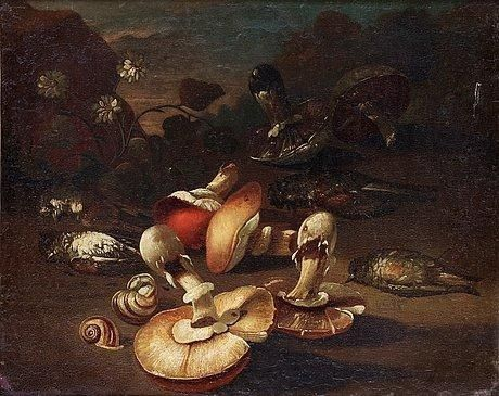 Artwork by Giuseppe Recco, Still life with birds and mushrooms, Made of Relined canvas