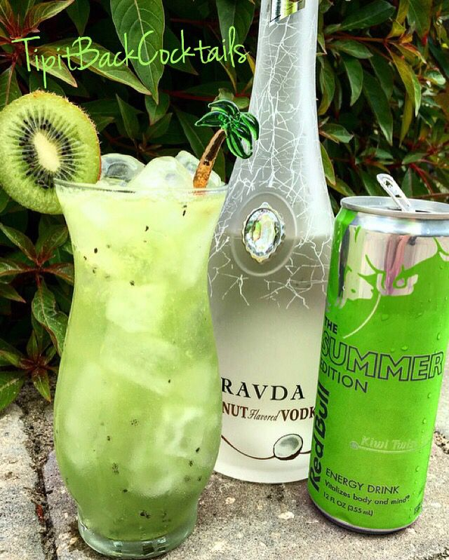 CocoKiwi Cooler 2 oz Pravda Coconut Vodka Top with Red Bull Kiwi Twist